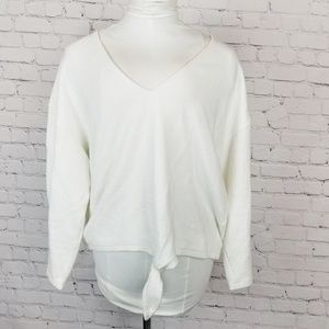 Madewell|White Textured Tie Front Top